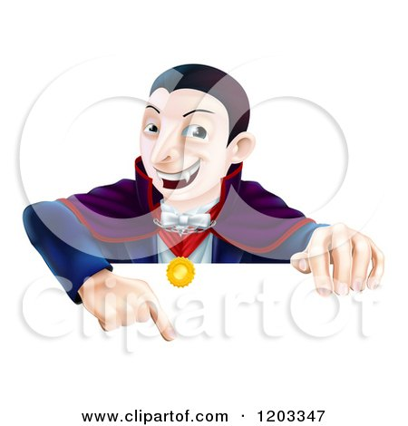 Cartoon of a Happy Vampire Pointing down at a Sign - Royalty Free Vector Clipart by AtStockIllustration