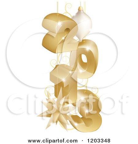 Clipart of a 3d Golden Year 2013 with Christmas Baubles - Royalty Free Vector Illustration by AtStockIllustration