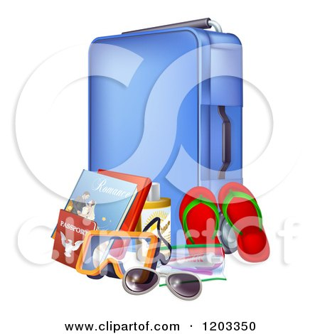 Cartoon of a Blue Suitcase with Travel Essentials - Royalty Free Vector Clipart by AtStockIllustration