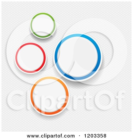 Clipart of Colorful Infographic Circles over Mesh - Royalty Free Vector Illustration by elaineitalia