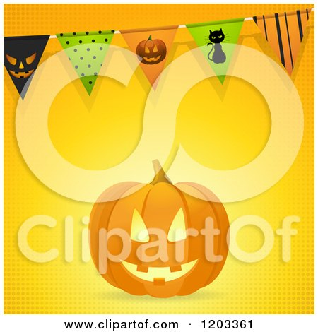 Clipart of a Carved Halloween Pumpkin with Party Bunting Flags on Halftone - Royalty Free Vector Illustration by elaineitalia