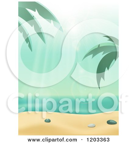 Clipart of the Sun Shining down on a Tropical Beach with Palm Tree and White Sand - Royalty Free Vector Illustration by elaineitalia