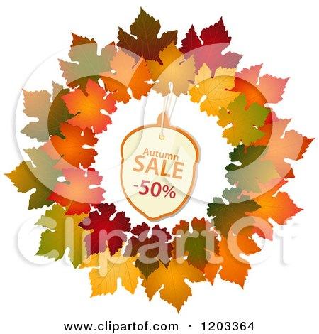 Clipart of an Autumn Acorn Sales Tag in a Maple Leaf Wreath - Royalty Free Vector Illustration by elaineitalia