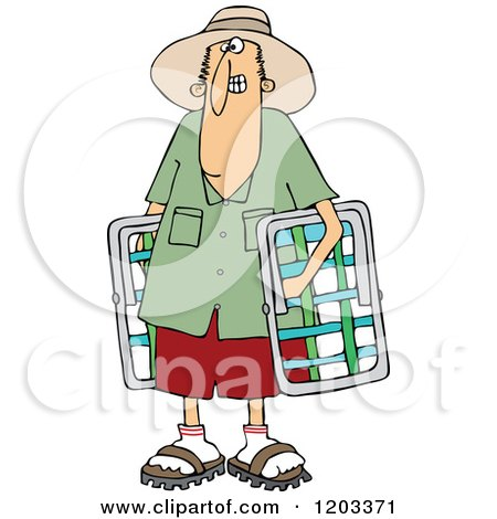 Cartoon of a White Man Carrying Lawn Chairs - Royalty Free Vector Clipart by djart