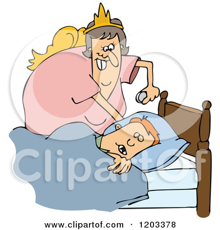 Cartoon of a Chubby White Tooth Fairy Putting a Coin Under a Boys Pillow - Royalty Free Vector Clipart by djart