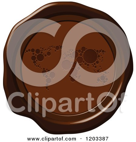Clipart of a Brown Wax or Chocolate World Map Seal Icon - Royalty Free Vector Illustration by Andrei Marincas