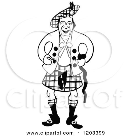 Cartoon of a Vintage Black and White Caricature of Harry Lauder - Royalty Free Vector Clipart by Prawny Vintage