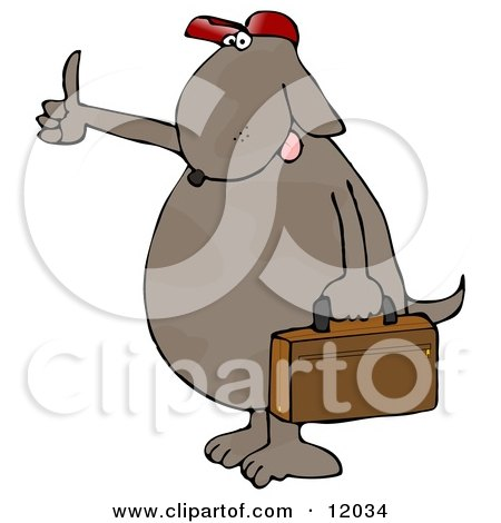 Brown Dog Hitchhiking and Carrying a Briefcase Cartoon Clipart by djart