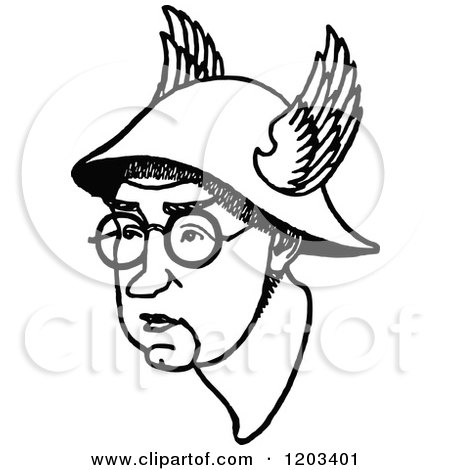 Cartoon of a Vintage Black and White Caricature of John Collings Squire - Royalty Free Vector Clipart by Prawny Vintage