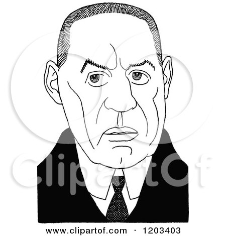 Cartoon of a Vintage Black and White Caricature of William Babington Maxwell - Royalty Free Vector Clipart by Prawny Vintage