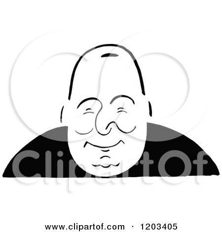 Cartoon of a Vintage Black and White Caricature of Jefferson Dangelis - Royalty Free Vector Clipart by Prawny Vintage