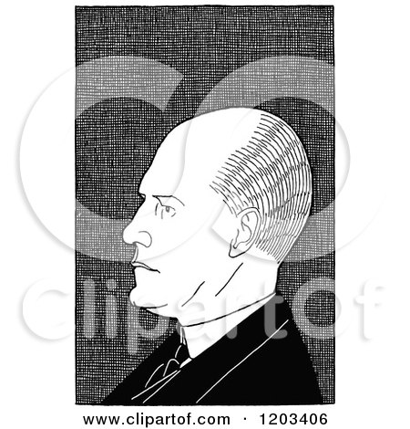 Cartoon of a Vintage Black and White Caricature of John Galsworthy - Royalty Free Vector Clipart by Prawny Vintage