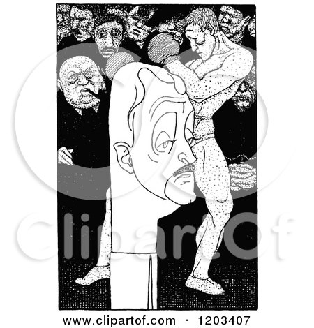 Cartoon of a Vintage Black and White Caricature of John Masefield - Royalty Free Vector Clipart by Prawny Vintage