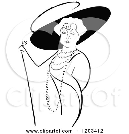 Cartoon of a Vintage Black and White Caricature of Lillian Russel - Royalty Free Vector Clipart by Prawny Vintage