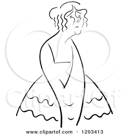 Cartoon of a Vintage Black and White Caricature of Yvette Guilbert - Royalty Free Vector Clipart by Prawny Vintage