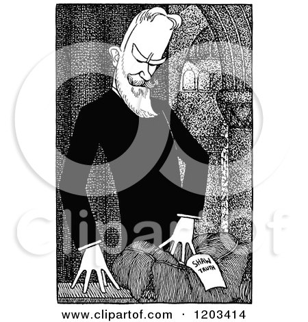 Cartoon of a Vintage Black and White Caricature of George Bernard Shaw - Royalty Free Vector Clipart by Prawny Vintage