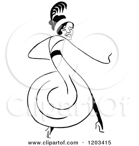 Cartoon of a Vintage Black and White Caricature of Gertrude Vanderbilt - Royalty Free Vector Clipart by Prawny Vintage