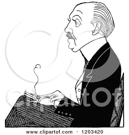 Cartoon of a Vintage Black and White Caricature of Max Beerbohm - Royalty Free Vector Clipart by Prawny Vintage