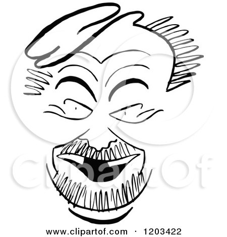 Cartoon of a Vintage Black and White Caricature of Nat Willis - Royalty Free Vector Clipart by Prawny Vintage