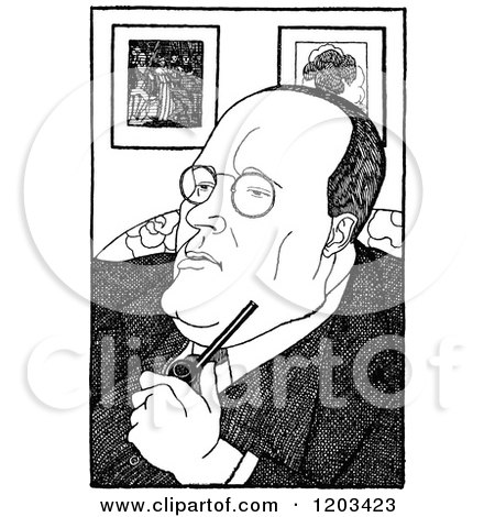 Cartoon of a Vintage Black and White Caricature of Hugh Seymour Walople - Royalty Free Vector Clipart by Prawny Vintage
