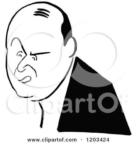 Cartoon of a Vintage Black and White Man, Arnold Daly - Royalty Free Vector Clipart by Prawny Vintage