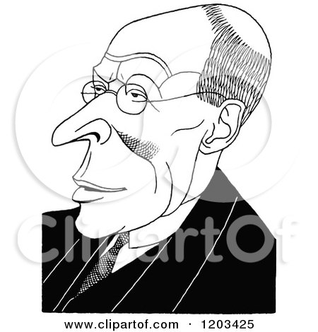 Cartoon of a Vintage Black and White Caricature of Charles Marriott - Royalty Free Vector Clipart by Prawny Vintage