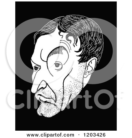 Cartoon of a Vintage Black and White Caricature of Walter De La Mare - Royalty Free Vector Clipart by Prawny Vintage