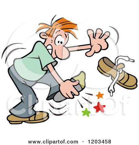 Cartoon of a Red Haired Man Stabbing His Foot on Something in His Shoe - Royalty Free Vector Clipart by Johnny Sajem