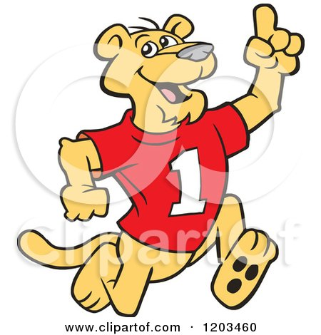Cartoon of a Victorious Cougar Mascot Wearing a 1 Jersey and Holding up a Number One Finger - Royalty Free Vector Clipart by Johnny Sajem