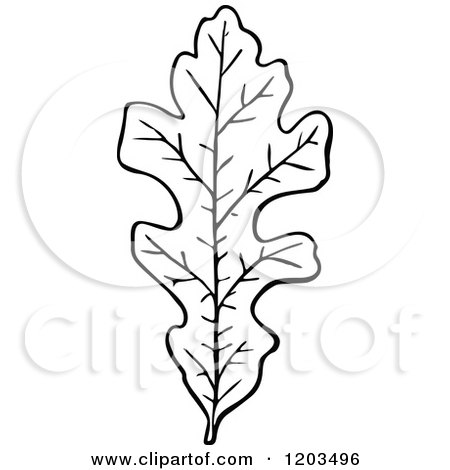 Clipart of a Vintage Black and White Leaf - Royalty Free ...