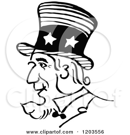 Cartoon of a Vintage Black and White Uncle Sam Profile ... | 450 x 470 jpeg 32kB