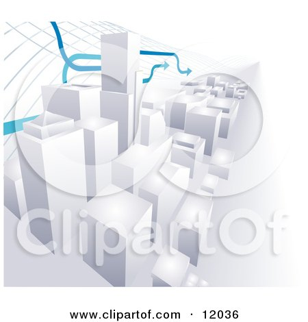 Arrows Passing Over a 3D Cityscape of High Rise Skyscraper Office Buildings Clipart Illustration by AtStockIllustration
