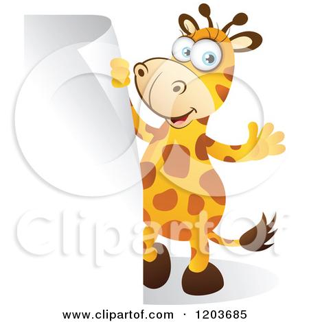 Cartoon Of A Cute Big Eyed Giraffe Waving By Sign Corner
