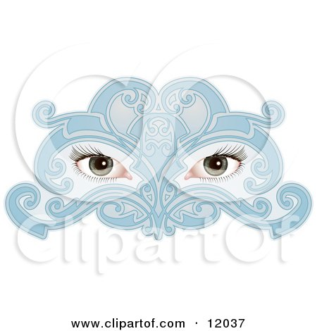 Woman's Eyes Behind a Blue Face Mask Clipart Illustration by AtStockIllustration