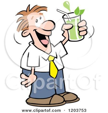 Cartoon of a Happy Caucasian Man Drinking Green Tea - Royalty Free Vector Clipart by Johnny Sajem