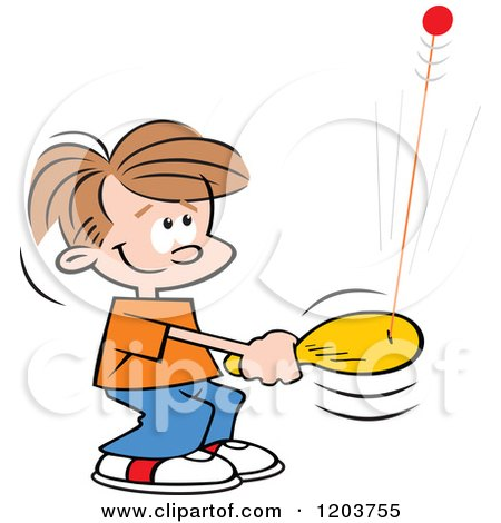 Cartoon of a Happy Caucasian Boy Playing with a Bolo Bat Toy - Royalty Free Vector Clipart by Johnny Sajem