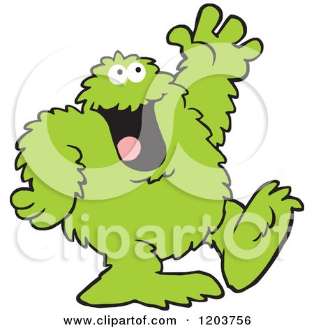 Cartoon of a Friendly Green Bigfoot Monster Waving - Royalty Free Vector Clipart by Johnny Sajem