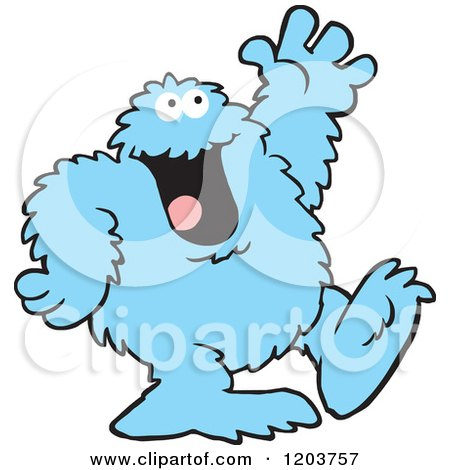 Cartoon of a Friendly Blue Bigfoot Monster Waving - Royalty Free Vector Clipart by Johnny Sajem