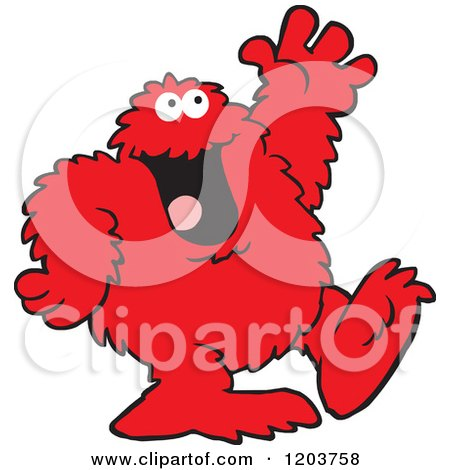 Cartoon of a Friendly Red Bigfoot Monster Waving - Royalty Free Vector Clipart by Johnny Sajem