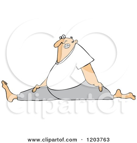 Cartoon of a Chubby White Man Wincing and Doing the Splits - Royalty Free Vector Clipart by djart