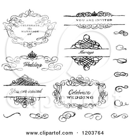 Clipart of Sketched Black and White Swirl Wedding Frames and Designs - Royalty Free Vector Illustration by BestVector