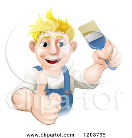 Cartoon of a Happy Blond Male House Painter Holding a Brush and Thumb up - Royalty Free Vector Clipart by AtStockIllustration