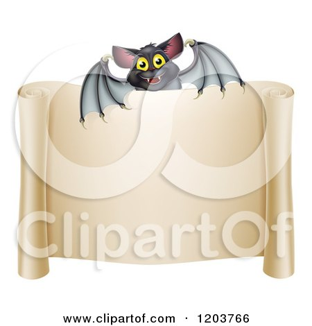 Cartoon of a Happy Halloween Vampire Bat over a Scroll Sign - Royalty Free Vector Clipart by AtStockIllustration