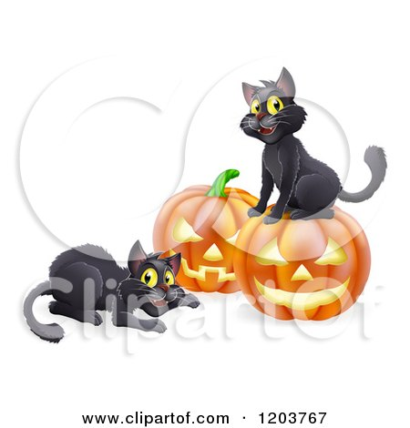 Cartoon of Happy Black Cats Playing by Halloween Pumpkins - Royalty Free Vector Clipart by AtStockIllustration