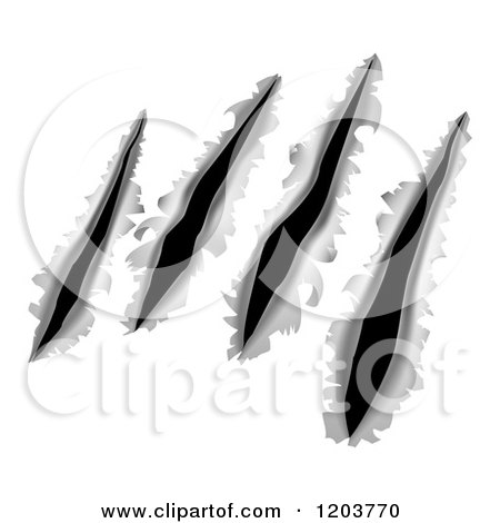 Cartoon of Monster Gouges and Slashes Through Metal - Royalty Free Vector Clipart by AtStockIllustration