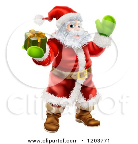 Cartoon of Santa Holding out a Gift Box and Waving - Royalty Free Vector Clipart by AtStockIllustration