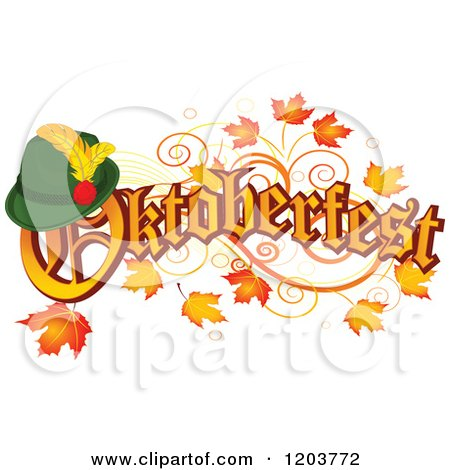 Cartoon of Oktoberfest Text with a German Hat, over Autumn Leaves - Royalty Free Vector Clipart by Pushkin