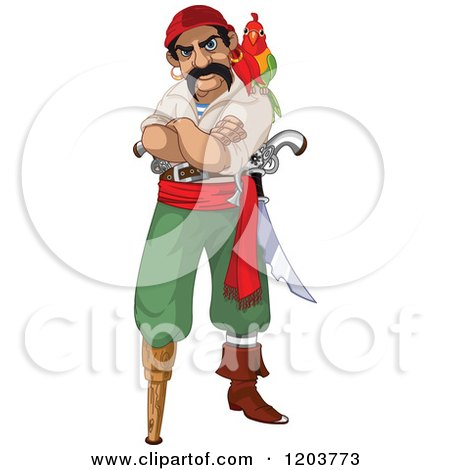 Cartoon of a Mad Male Pirate with a Parrot, Peg Leg and Folded Arms - Royalty Free Vector Clipart by Pushkin
