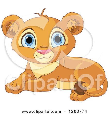 Cartoon of a Cute Resting Lion Cub - Royalty Free Vector Clipart by Pushkin
