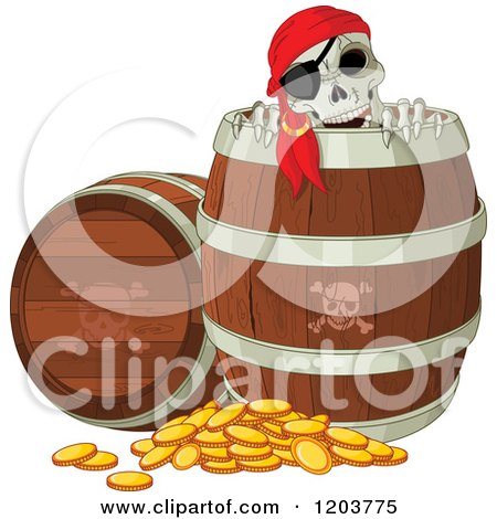 Cartoon of a Pirate Skeleton Peeking out of a Beer Keg Barrel, with Coins on the Ground - Royalty Free Vector Clipart by Pushkin